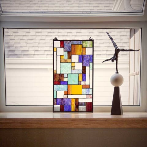 """River of Goods Multicolored Stained Glass 23-inch Mod Collage Window Panel - 13""""L x 0.25""""W x 23""""H"""