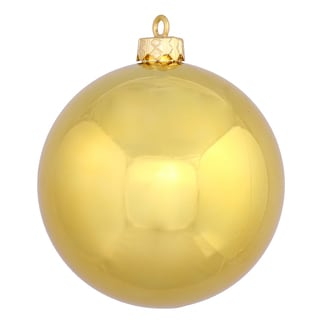 Gold Plastic 6-inch Shiny Ball Ornament (Pack of 4)