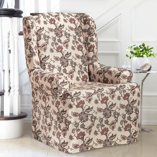 Coverwear Floral Polyester Wing Chair Slipcover