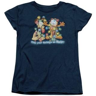 Garfield/Bright Holidays Short Sleeve Women's Tee in Navy