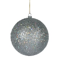 Silver Sequin 6-inch Ball Ornaments (Pack of 4)