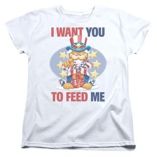 Garfield/I Want You Short Sleeve Women's Tee in White