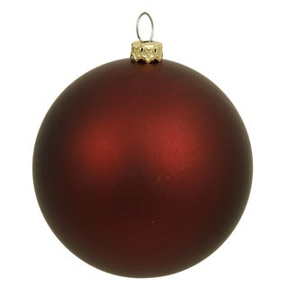 Burgundy Plastic 6-inch Matte Ball Ornament (Pack of 4)