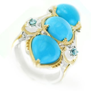 One-of-a-kind Michael Valitutti Sleeping Beauty turquoise and Blue Zircon Cocktail Ring