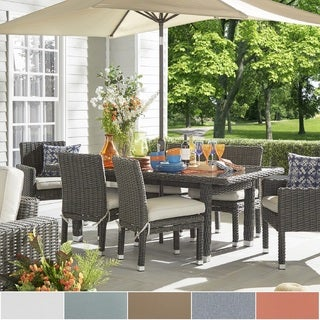 Barbados Grey Charcoal Wicker Glass Top 7-piece Rectangular Dining Set iNSPIRE Q Oasis