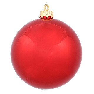 Red Plastic 6-inch Shiny Ball Ornament (Pack of 4)