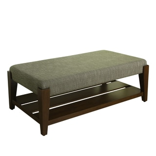 HomePop Brook Cocktail Ottoman with Shelf