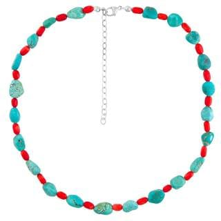 Sterling Silver Turquoise and Red Coral Beaded Necklace