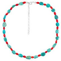 Sterling Silver Turquoise and Red Coral Beaded Necklace - Blue
