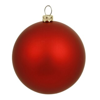 Red Matte Plastic 6-inch Ball Ornament (Pack of 4)