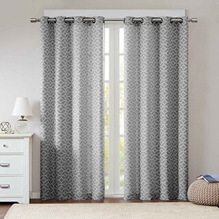 Madison Park Claire Fret Jacquard Curtain Panel Pair