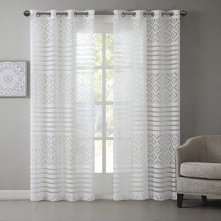 Madison Park Clara Geo Burnout Lightweight Sheer Window Curtain Panel with Soft Textured Edges/ Grommet Top Finish