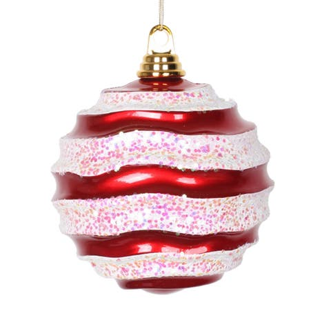 Red-White 8-inch Candy Glitter Wave Ball Ornament