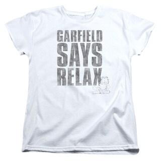 Garfield/Relax Short Sleeve Women's Tee in White