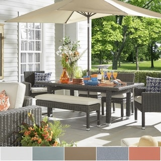 Barbados Gey Charcoal Wicker Glass Top 6-piece Rectangular Dining Set by NAPA LIVING