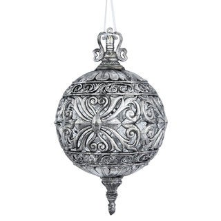 Antique Silver Pladtic 10-inch Sculptured Ball Ornament (Pack of 2)