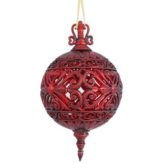 Antique Red 10-inch Sculptured Ball Ornament (Set of 2)