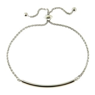 Sterling Silver High Polish Tube Bar Adjustable Slide Lock Bracelet (Italy)