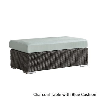 Barbados Wicker Patio Cushioned Rectangular Coffee Table Ottoman by iNSPIRE Q Oasis (Option: [Charcoal Finish] - with BLUE cushion)