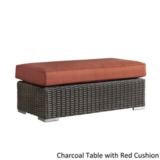 Barbados Wicker Patio Cushioned Rectangular Coffee Table Ottoman by iNSPIRE Q Oasis