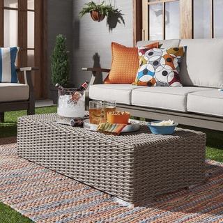 Barbados Wicker Patio Cushioned Rectangular Coffee Table Ottoman NAPA LIVING
