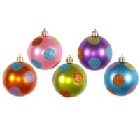 Multicolor Plastic 2.4-inch Candy Polka Dot Assorted Ball Ornaments (Case of 15)