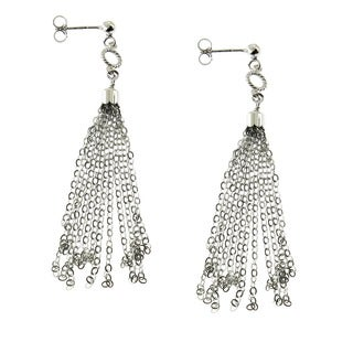 Handmade Sterling Silver Rhodium Finish Tassel Drop Post Earrings (Italy)