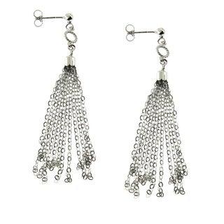 Handmade Sterling Silver Rhodium Finish Tassel Drop Post Earrings (Italy)