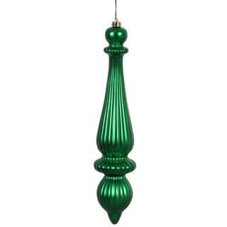 Green Plastic 14-inch Matte Finial Drop Ornaments (Set of 2)