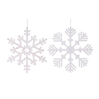 White Plastic 12-inch Glitter Snowflake Assorted Ornaments (Set of 2)
