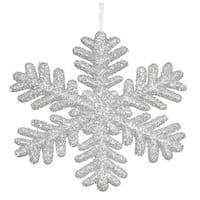 Silver Glitter 13.75-inch Snowflake Ornament