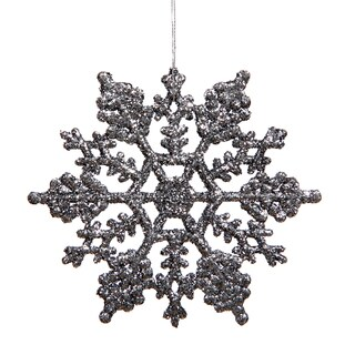 "6.25"" Pewter Glitter Snowflake Ornament (Pack of 12)"