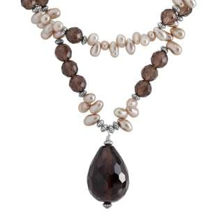 Sterling Silver Smokey Quartz and Pearl Necklace