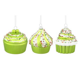 Lime Plastic 3-inch Cupcakes Assorted Ornaments (Pack of 3)