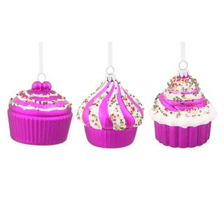 Cerise Cupcakes Plastic 3-inch Assorted Ornaments (Pack of 3)