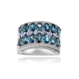 Glitzy Rocks Sterling Silver Tanzanite, London Blue and White Topaz 2-row Ring