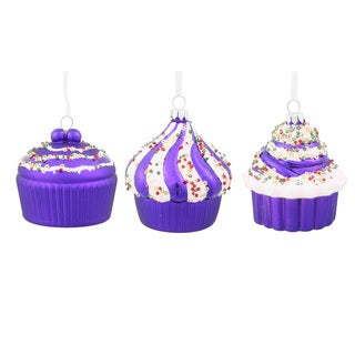 Purple Plastic 3-inch Cupcakes Assorted Ornaments (Pack of 3)