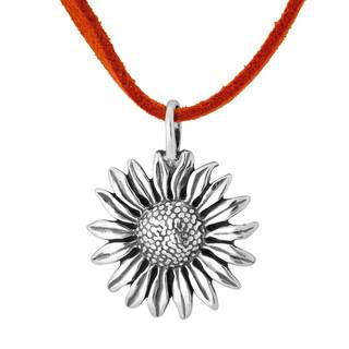 Sterling Silver Sunflower on Orange Leather Cord