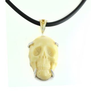 One-of-a-kind Michael Valitutti Vegetable Ivory Skull Head with Yellow Sapphire Pendant