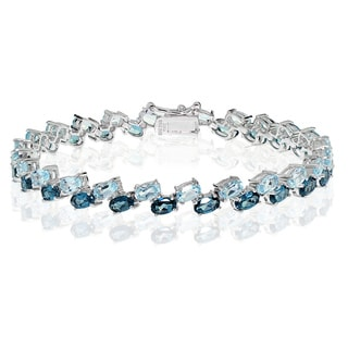 Glitzy Rocks Sterling Silver London Blue Topaz and Tanzanite Oval-cut Link Bracelet