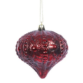 Antique Red 4-inch Sculptured Onion Ornament (Pack of 6)