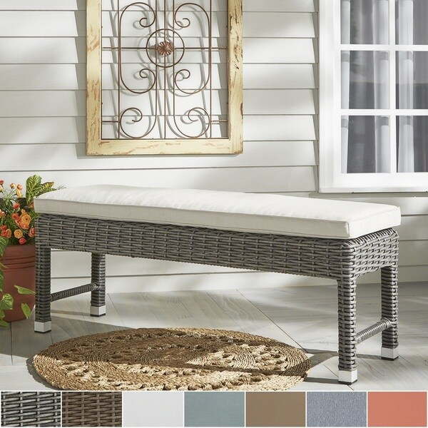 Good Barbados Wicker 55 Inch Patio Cushioned Coffee Table Bench INSPIRE Q Oasis