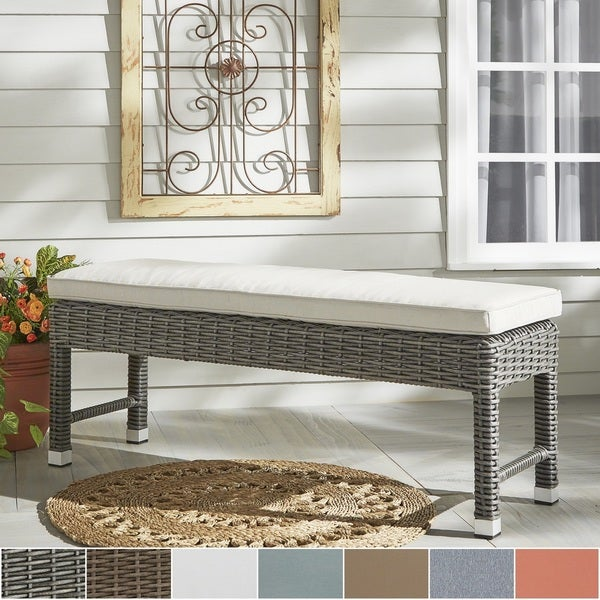 Barbados Wicker 55 Inch Patio Cushioned Coffee Table Bench INSPIRE Q Oasis
