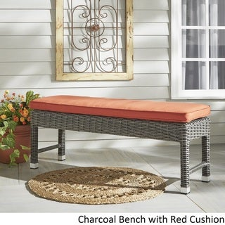 Barbados Wicker 55-inch Patio Cushioned Coffee Table Bench by NAPA LIVING