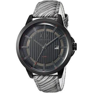 Armani Exchange Men's 'Smart' Grey Leather Watch