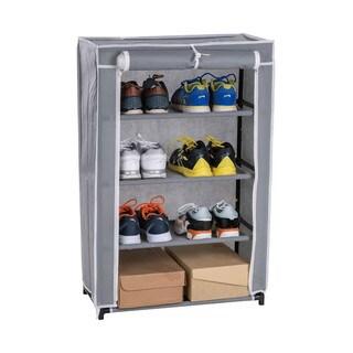 Grey Metal/Fabric 4-tier Shoe Closet