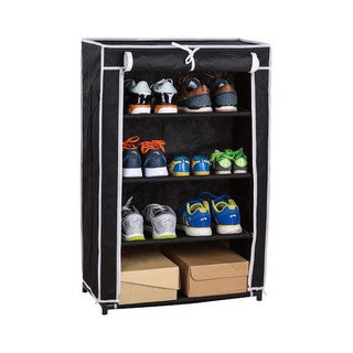 Black Metal and Fabric 4-tier Shoe Closet with Roll-up door