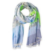Handmade Veroma Cotton-Blend Striped Abstract Print Scarf (India)