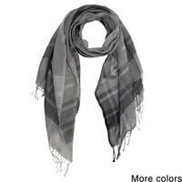 Handmade Saachi Plaid Wool Blend Scarf (India)