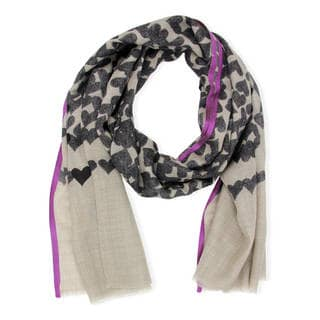 Handmade Saachi Women's Wool-Blend Heart Printed Scarf (India)
